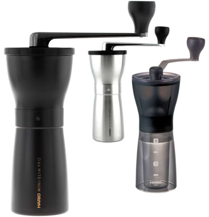 Hario Mini Mill Plus and Pro are perfect for coffee when travelling